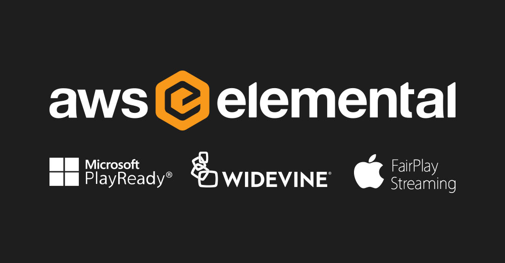 AWS elemenetal logo, Microsoft PlayReady logo, Widevine Logo, Apple Fair play logo