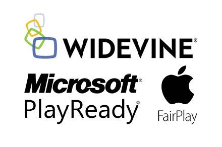 Widevine, MS Playready, Apple FairPlay logo