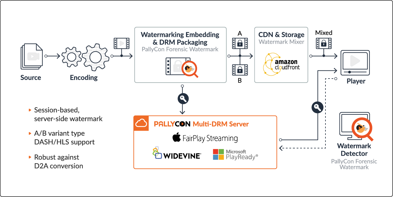 PallyCon Forensic Watermarking SaaS integrated with AWS